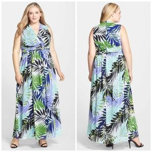 Vince Camuto Womens Wrap Maxi Dress Palm 1027K